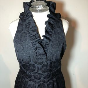 Nordstrom Taylor black dress ruffled collar party